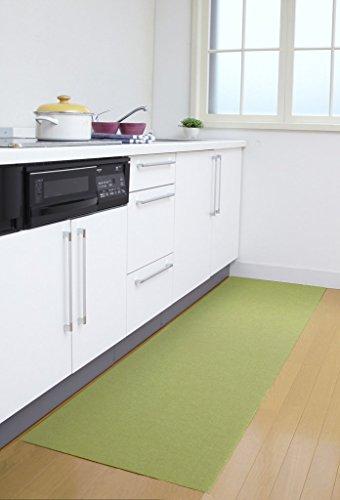 RoomClip商品情報 - サンコー  洗えるロングキッチンマット ズレないおくだけ吸着 はっ水  60×180cm グリーン KL-43(日本製 180)