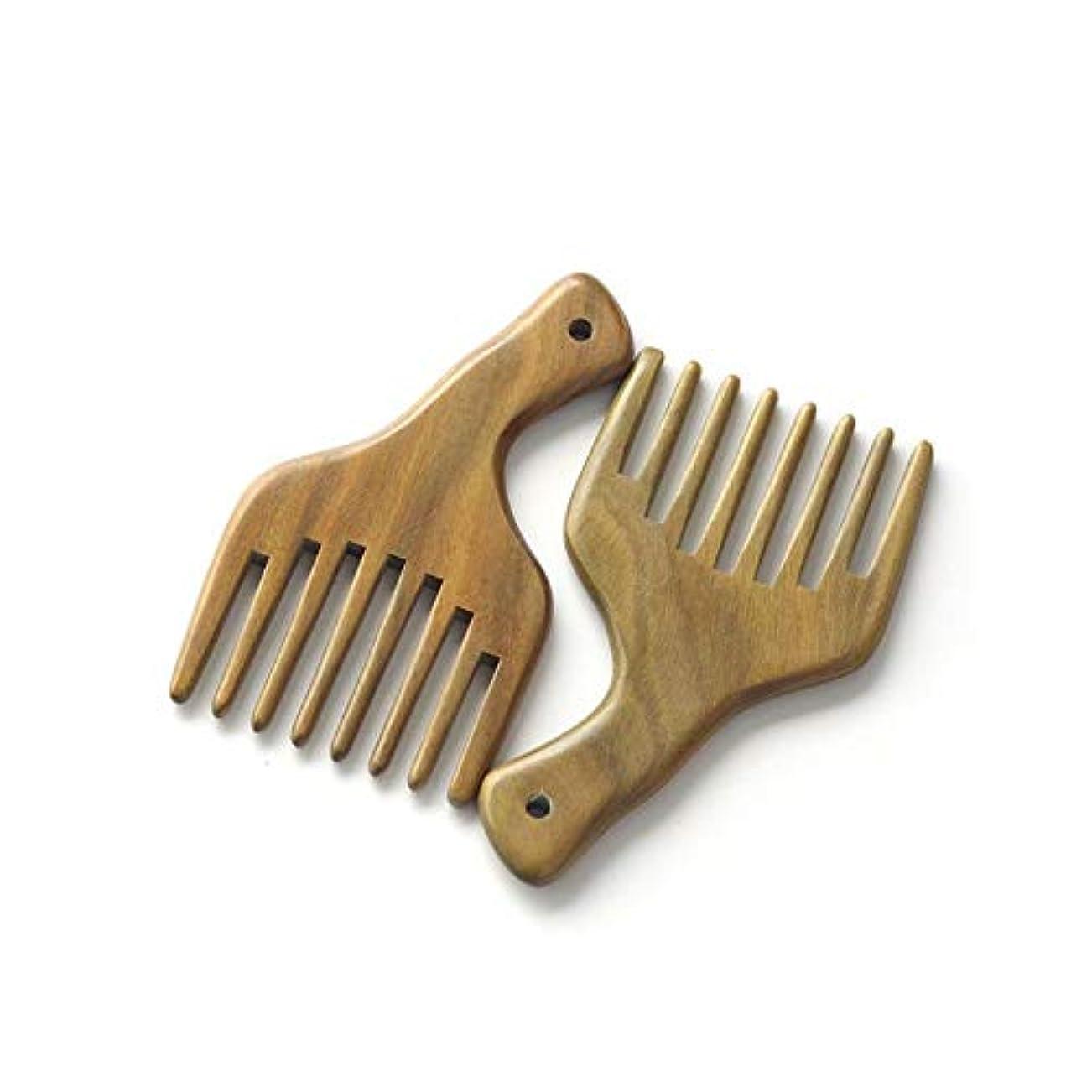 性能めまいが余剰Fashian木製くしナチュラルグリーンサンダルウッドマッサージくし手作りワイド歯ヘアコーム ヘアケア