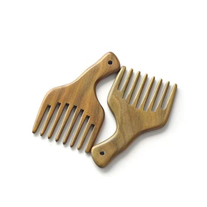 地理歯痛抗生物質Fashian木製くしナチュラルグリーンサンダルウッドマッサージくし手作りワイド歯ヘアコーム ヘアケア