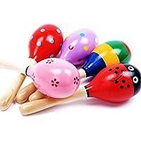 gberryカラフルEgg Shaker木製Rattles Set for Babies Infants 0 – 2年| Non Toxic子Safeおもちゃ生まれの新しい( Set of 2 – ランダム色