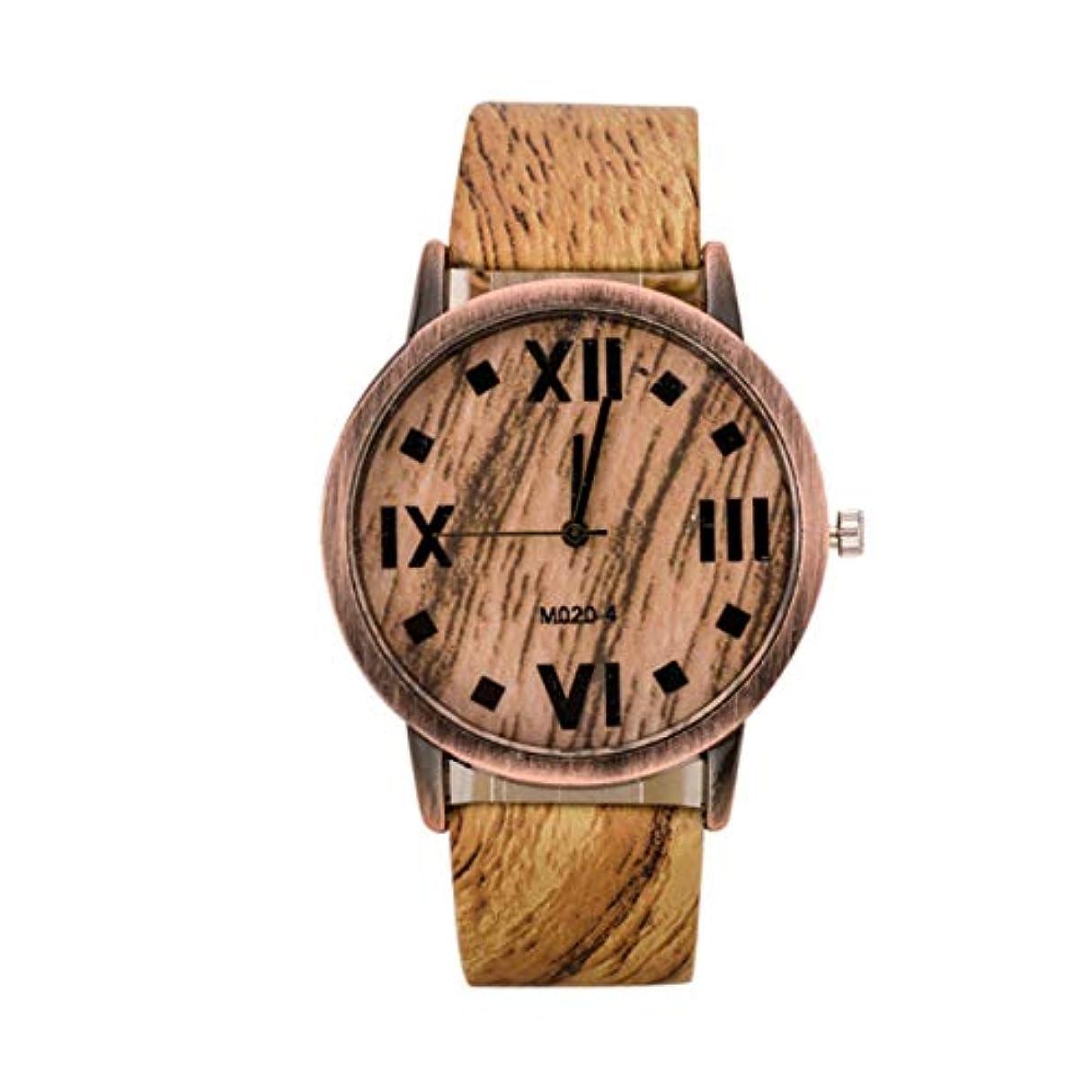 アウトドア乞食グッゲンハイム美術館DeeploveUU ファッショントレンディ女性腕時計ウッドグレインPUレザーストラップラウンドダイヤル腕時計カジュアルトラベルアロイウォッチ