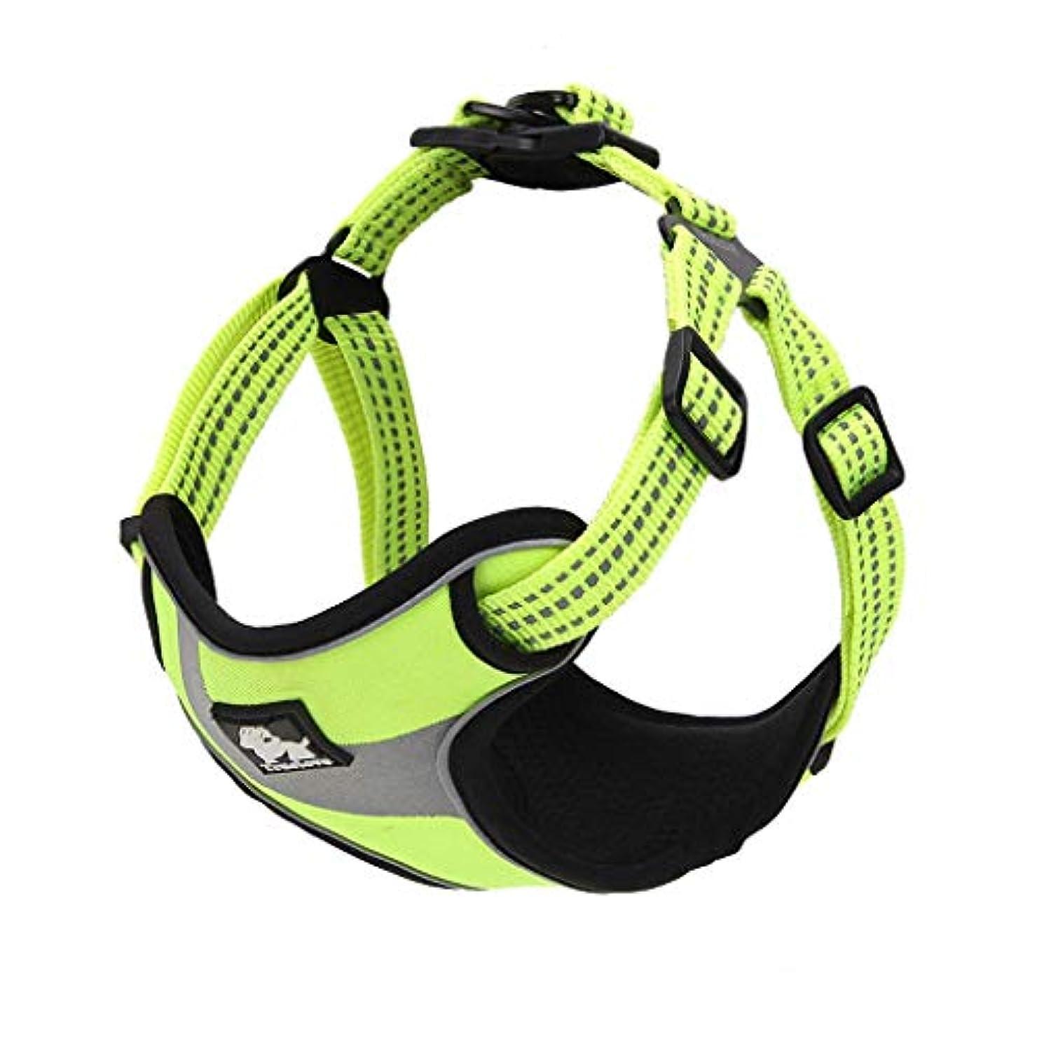 隣接するベース受粉者ペット胸の調節可能なストラップクリップ多機能 生地犬車ウォーキングベストストラップ屋外旅行多機能 生地でバックチェスト (色 : 緑, サイズ さいず : L l)