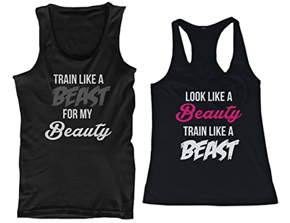 真似る甘くする刺繍365 Printing His and Her Matching Tank Tops Look Like A Beauty Train Like A Be