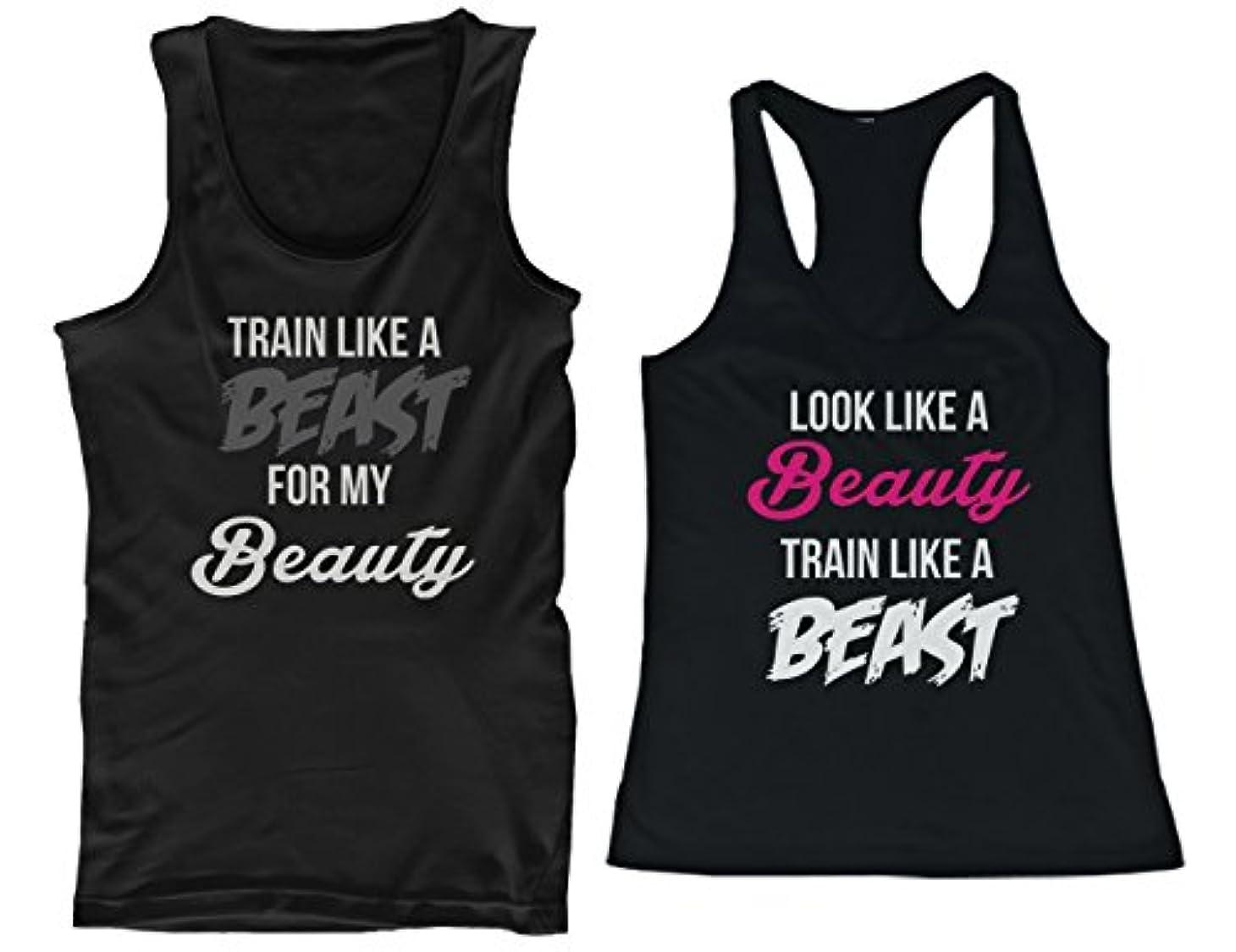 ヒットピービッシュ蓋365 Printing His and Her Matching Tank Tops Look Like A Beauty Train Like A Be