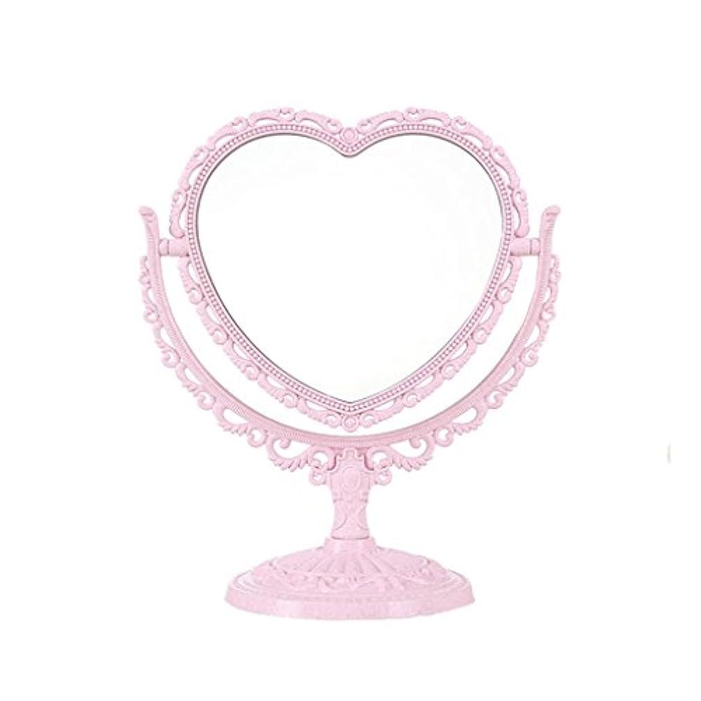 荒野願望ホームレスCSQ ポータブルミラー、クリエイティブピンクの両面リビングルームミラー化粧鏡レトロミラードレッサーは、ベッドルームミラーを作る メイクアップとミラー (色 : ピンク)