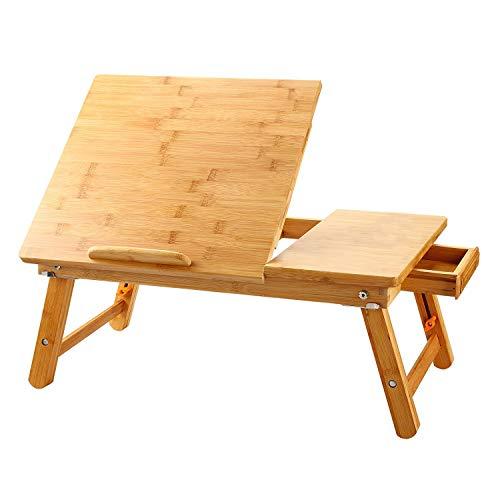 ノートパソコンデスク 竹製 ベッドテーブル ローテーブル 折りたたみ式 多機...