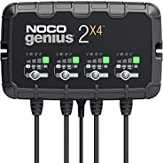 NOCO GENIUS2X4, 4-Bank, 8-Amp (2-Amp Per Bank) Fully-Automatic Smart Charger, 6V and 12V Battery Charger