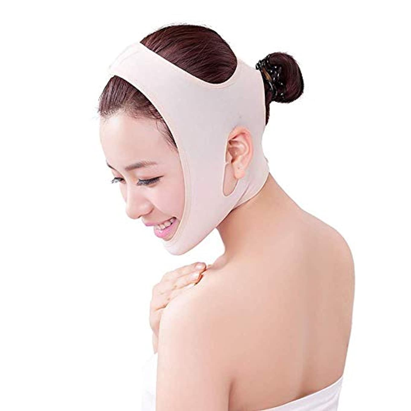 放置巻き戻す開発薄型フェイスベルト - 男性用および女性用の包帯をフランスの顔用リフティングマスク器具に引き締める薄型フェイスVフェイス薄型ダブルチンフェイスリフティングベルト(サイズ:M),S