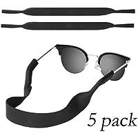 Neoprene Floating Sunglasses Straps, [5 Pack] Universal Durable & Adjustable Eyewear Retainer,Safety Glasses Strap for Men & Women(Black)