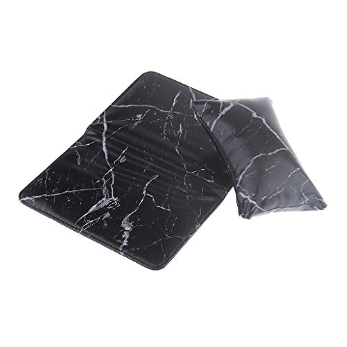 パーティー柔らかさコウモリネイルアート ハンドクッションピロー 折りたたみ式パッド アームレストホルダー PUレザー 2色選べ - ブラック