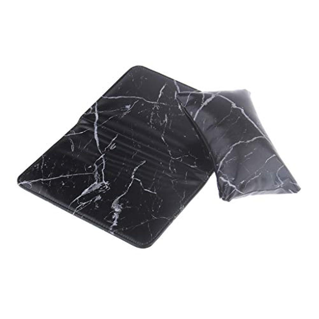 矛盾時間つづりSM SunniMix ネイルアート ハンドクッションピロー 折りたたみ式パッド アームレストホルダー PUレザー 2色選べ - ブラック