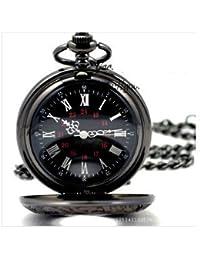 【AZwind】懐中時計 黒 アンティーク レトロ ブラック クローム フック・チェーン 【黒の懐中時計】レトロ ブラック クローム [並行輸入品]