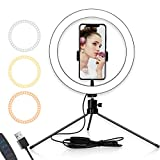 "Selfie Ring Light, 10"" Dimmable LED Ring Light with Stand and Phone Holder, for Camera, Live Streaming/Makeup/YouTube/Vlog/TikTok Videos Photography Shooting"