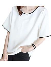 [Flapkash(フラップカッシュ)] 半袖 無地 ラウンドネック カットソー カジュアル シンプル Tシャツ レディース