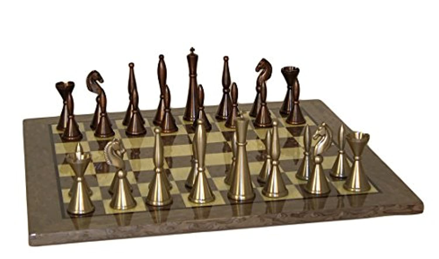 Solid Brass Art Deco Chess Set