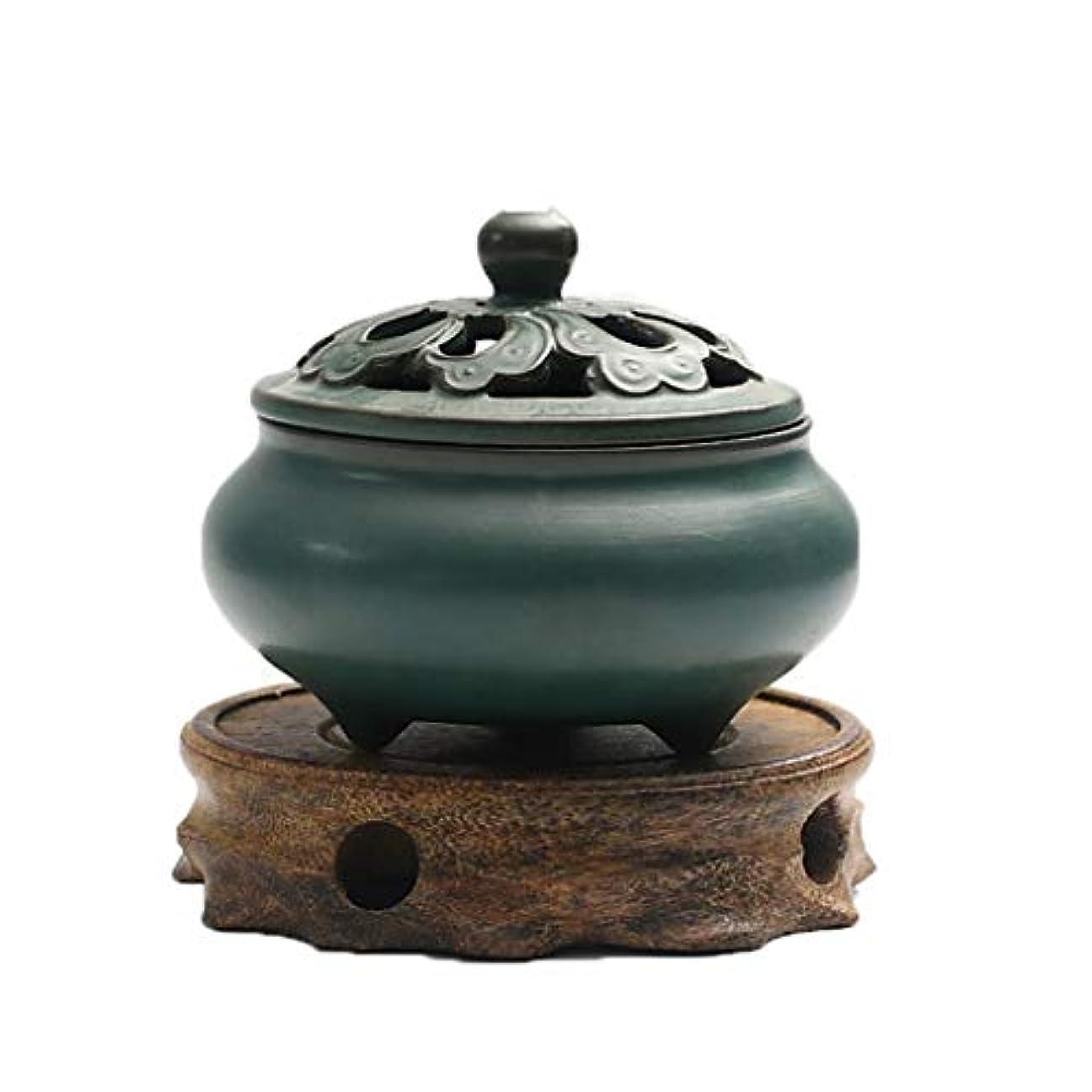芳香器?アロマバーナー レトロなノスタルジックなセラミック釉薬小さな香バーナー屋内ライトグリーンティーセレモニーアロマテラピー炉 アロマバーナー (Color : Wooden board)