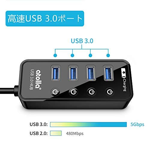 『atolla USB3.0ハブ 4ポート5Gbps高速データ転送 USB HUB 3.0 の 増設 + 1充電ポート、独立スイッチ付 バスパワー』の1枚目の画像