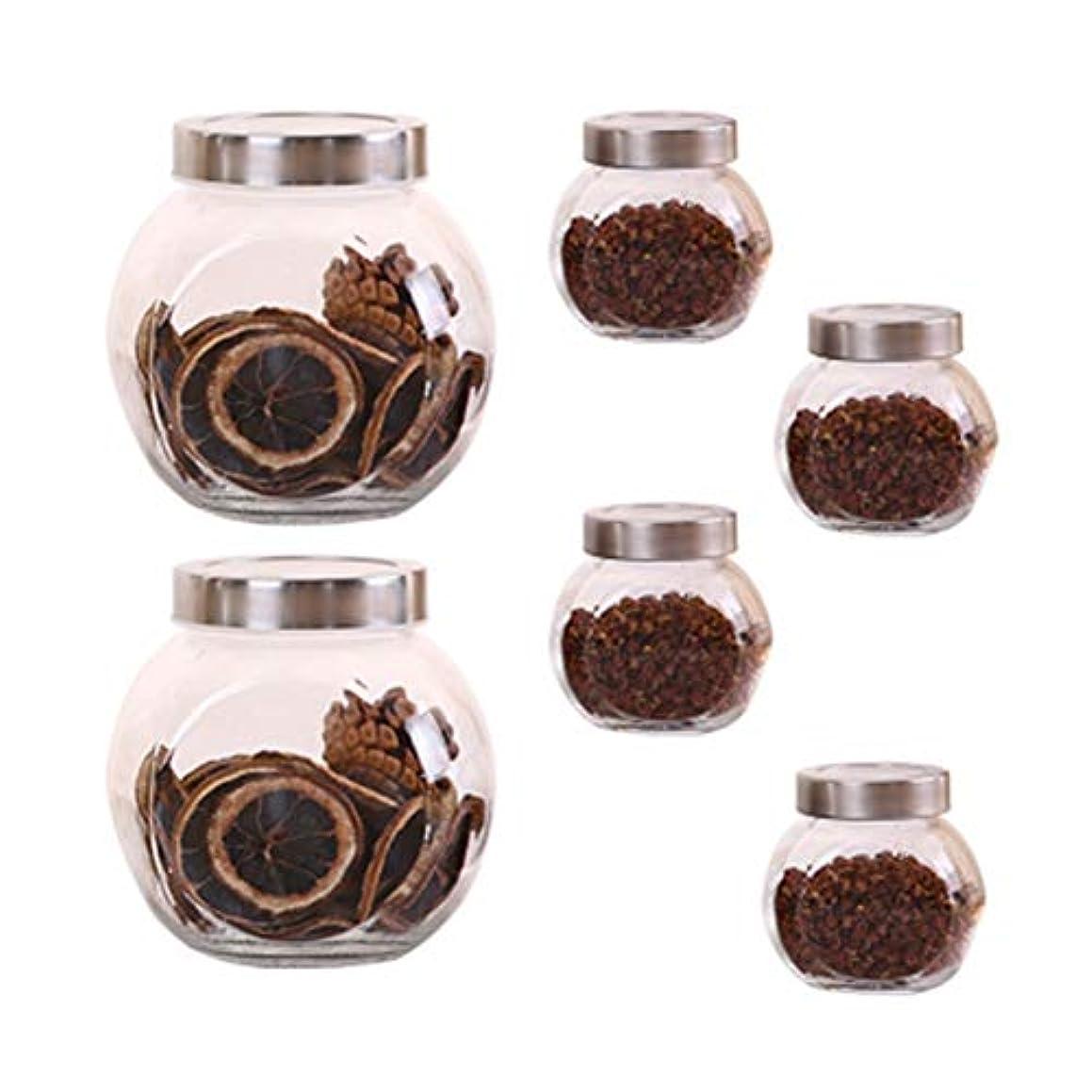 対のぞき穴統計的6個の鉛フリーガラスドライフルーツシール保湿ストレージジャーのストレージジャーパック(6パック)