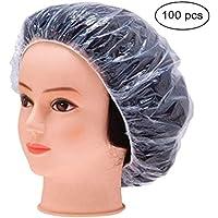 使い捨て シャワーキャップ 100枚入り プロワーク ヘアキャップ 防水透明プラスチック製シャワーキャップ 、弾性の水浴帽子、加工帽子、女性の美容帽ダストハットスパ、ヘアサロン、ホームユースホテル等で使用