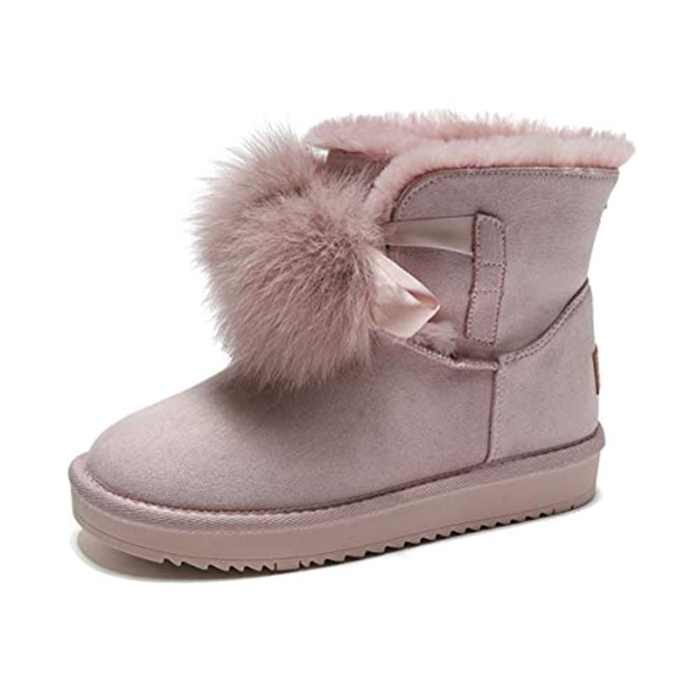 称賛カリキュラム独特のかわいいポンポンフラットヒールブーティーウィメンズスノーブーツWinter Faux Suede Slip On Ankle Boots