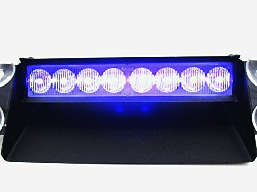 LED 車用 8連 ストロボ フラッシュ ライト 選べる 4種類 【赤・青】【赤】【青】【緑】 シガーソケット用 (C 青)