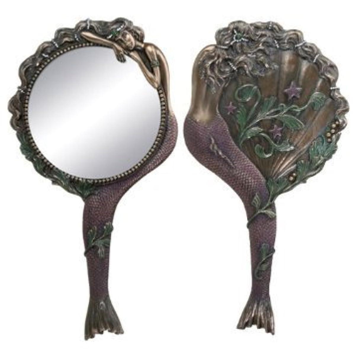 アグネスグレイメジャー信じるArt Nouveau Collectible Mermaid Hand Mirror Nymph Decoration by Summit