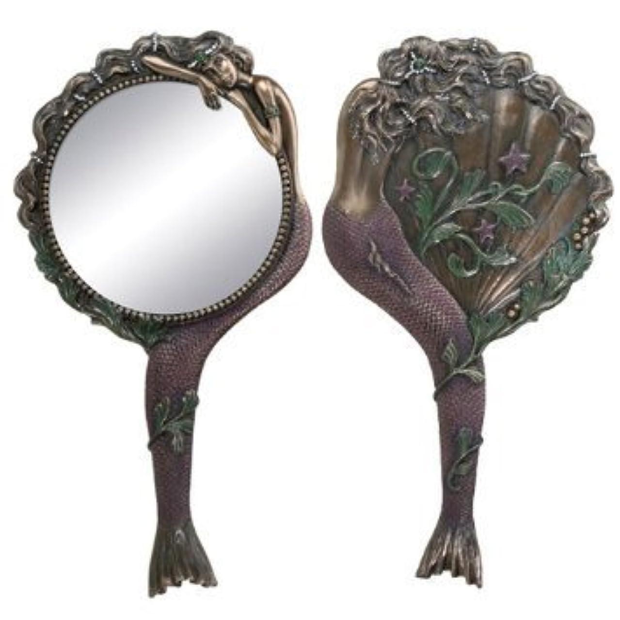 血統リーンうねるArt Nouveau Collectible Mermaid Hand Mirror Nymph Decoration by Summit