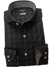 RSD164-004 (スタイルワークス) メンズ長袖ワイシャツ カッタウェイ ワイドカラー チェック | グリーンウッ