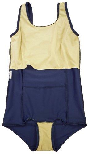 『A131(ルモード)lemode 日本製 前面スカート付きスクール水着 ラインワンピース ネイビー UVカット (11L)』の3枚目の画像