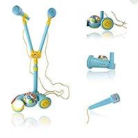 WolVolデュアルマイク歌唱デュオディスコライト付 - 機能的な男の子用カラオケ音楽おもちゃ(ブルー)