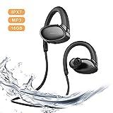 【IPX7 完全防水】LANNIU Bluetooth イヤホン ワイヤレス スポーツ MP3プレーヤー 高音質ACC APT-X対応 16GBメモリ マイク内蔵 8時間連続再生 低音重視搭載 CVC6.0 水泳 音楽プレーヤー搭載 ブルートゥース ヘッドホン ブラック
