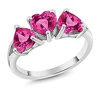 Gem Stone King 2.55カラット 天然 ミスティックトパーズ (ピンク) 合成ピンクサファイア シルバー925 指輪 リング