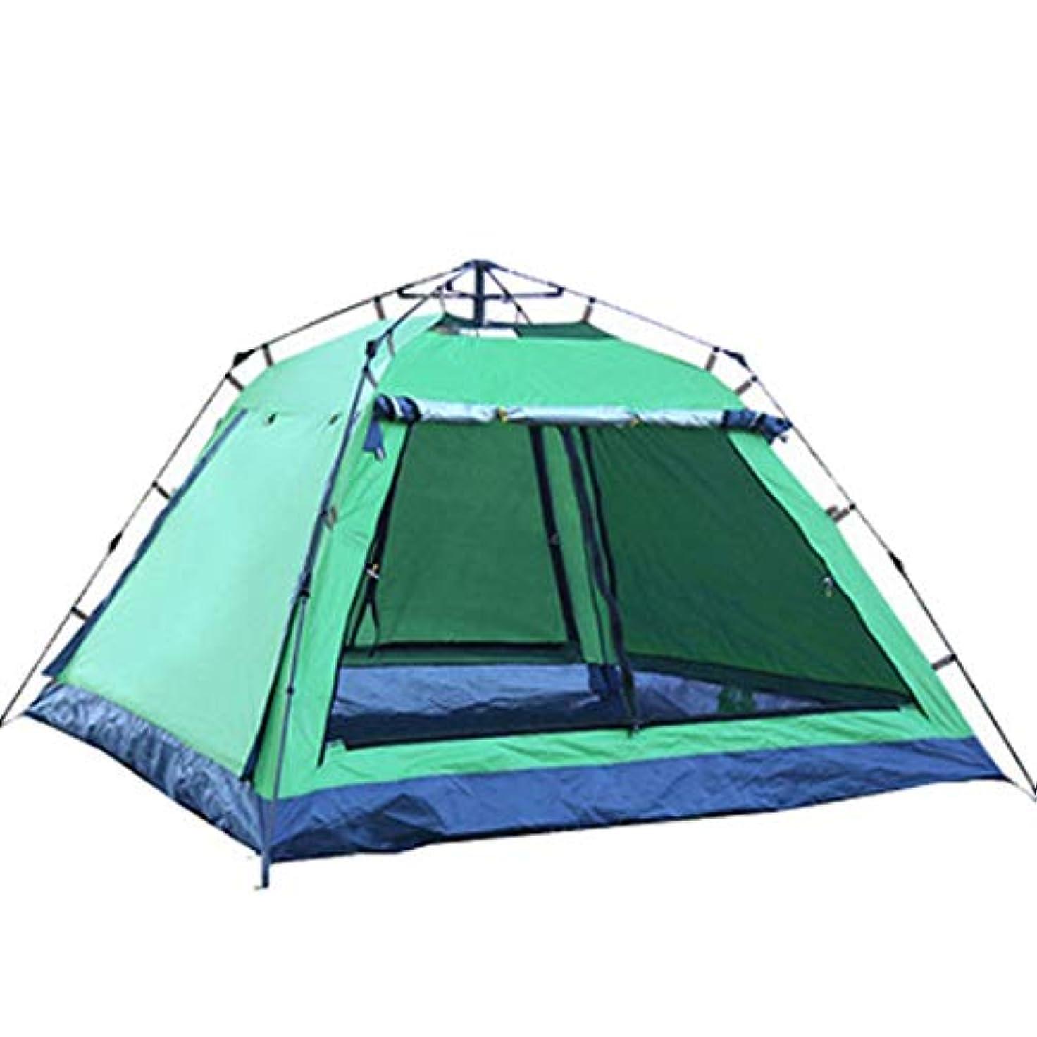 作業拍手支配するNekovan 3-4人丈夫なキャンプテント四隅スクエアトップ自動インスタントポップアップバックパッキングテント超軽量防水ハイキングキャンプ旅行、サンシェード、蚊 (色 : オレンジ)
