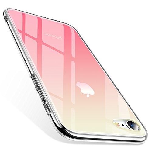 TORRAS iPhone8ケース iPhone7ケース 強化ガラスケース グラデーション 背面ガラス9H硬度+TPUバンパー 全面保護 アイホンX カバー 光学メッキ加工 おしゃれ キズ防止 ストラップホール付き(グラデーション ピンク)