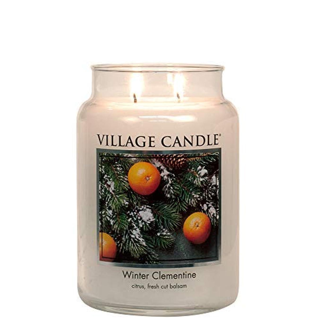 小石思いやり靄Village Candle Winter Clementine 26 oz Glass Jar Scented Candle Large [並行輸入品]
