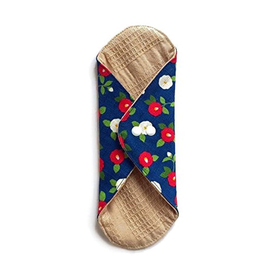 橋脚研磨神秘的な華布のオーガニックコットンのあたため布 Lサイズ (約18×約20.5×約0.5cm) 華椿(藍)