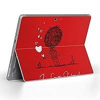 Surface go 専用スキンシール サーフェス go ノートブック ノートパソコン カバー ケース フィルム ステッカー アクセサリー 保護 ラブリー ハート 文字 英語 人物 007535