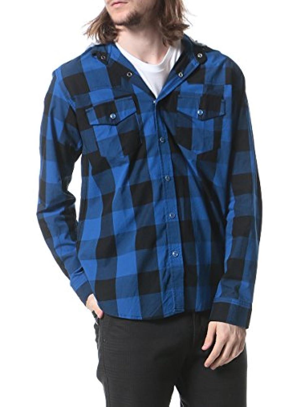 真鍮結婚式リベラル(グレンミスト) Glenmist 綿100% カットフード付き 長袖 チェックシャツ B / L