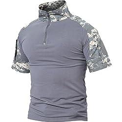 TACVASEN アメリカ軍 マルチカム 迷彩服 BDU 上着 米軍 tシャツ バイク カモフラージュ 半袖Tシャツ キャンプ ACU M