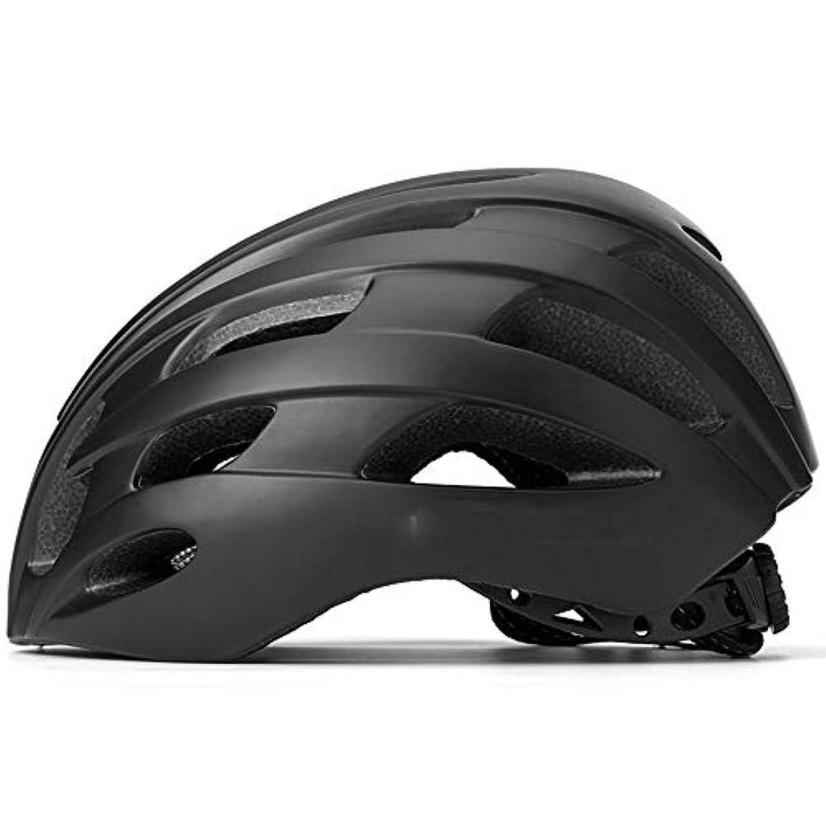 経験者オセアニアに付けるTOMSSL高品質 反射サイクリングヘルメットナイトライディング警告自転車安全ヘルメット統合モールディングマウンテンロード男性と女性 (色 : Black)