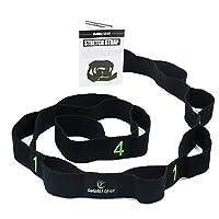 Exercise Stretching Strap forヨガ、物理療法、ピラティス、柔軟性(コットン、10ループ、ブラック)