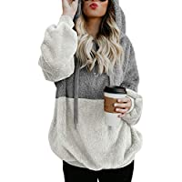 COCOLEGGINGS Women's Sherpa Pullover Fuzzy Fleece Sweatshirt Oversized Hoodie