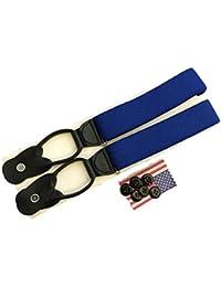 サスペンダー メンズ 紳士 USA製 Braces ブレイス ブレイシーズ Y型 Yバック ボタン止め 伸縮素材 Royalblue ロイヤルブルー B043