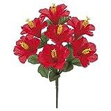 ハワイアンハイビスカスブッシュ *7(レッド)【ハイビスカスの造花・アートフラワー】(FLB8087RD)