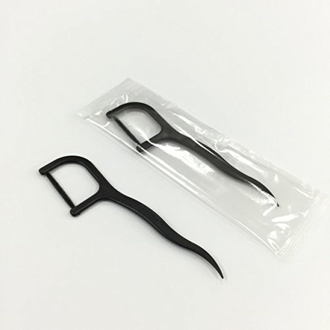 タイマーぬれた長いです糸付きようじ 黒  1本包装 100本x3パック