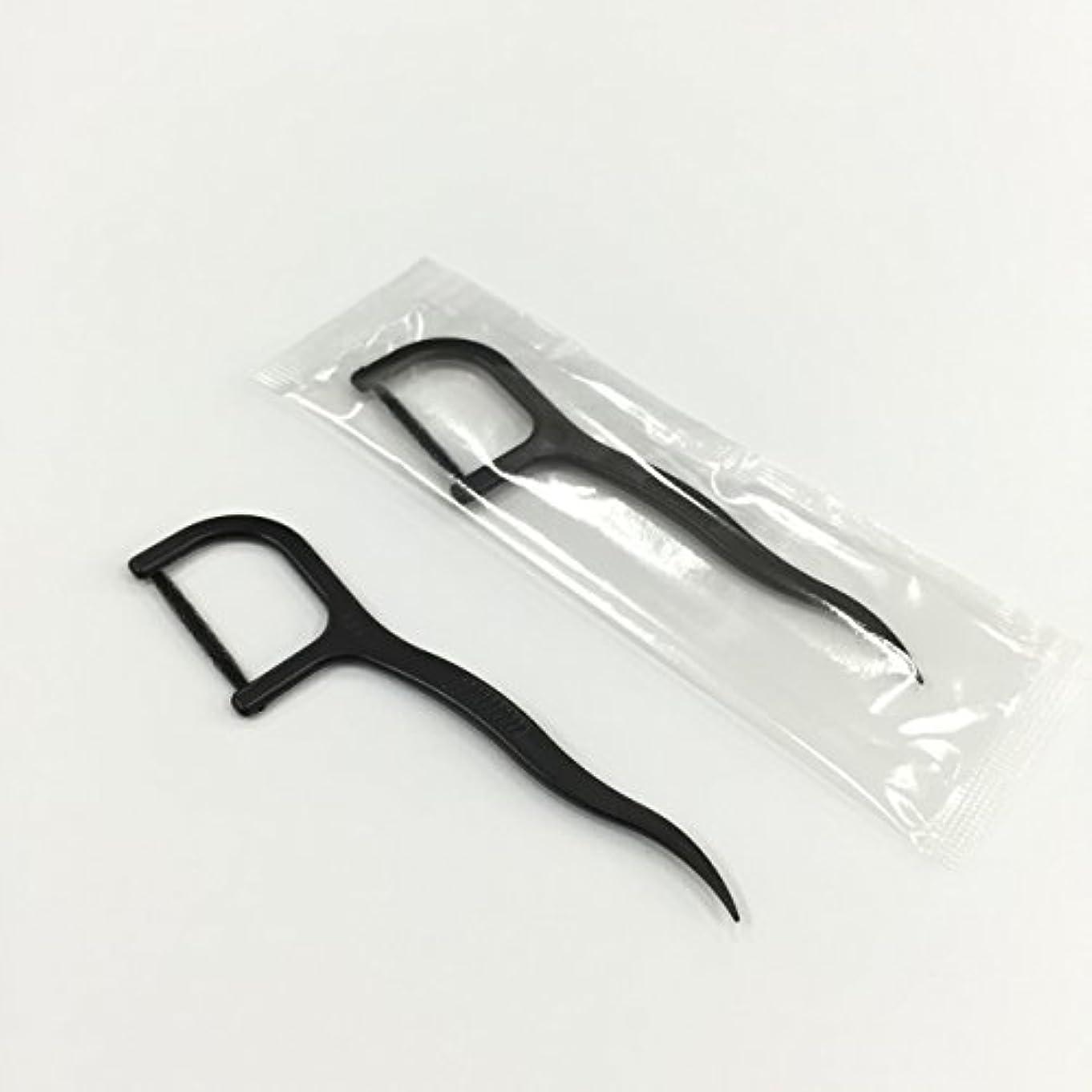 通訳真剣に一貫した糸付きようじ 黒 1本包装 100本x3パック