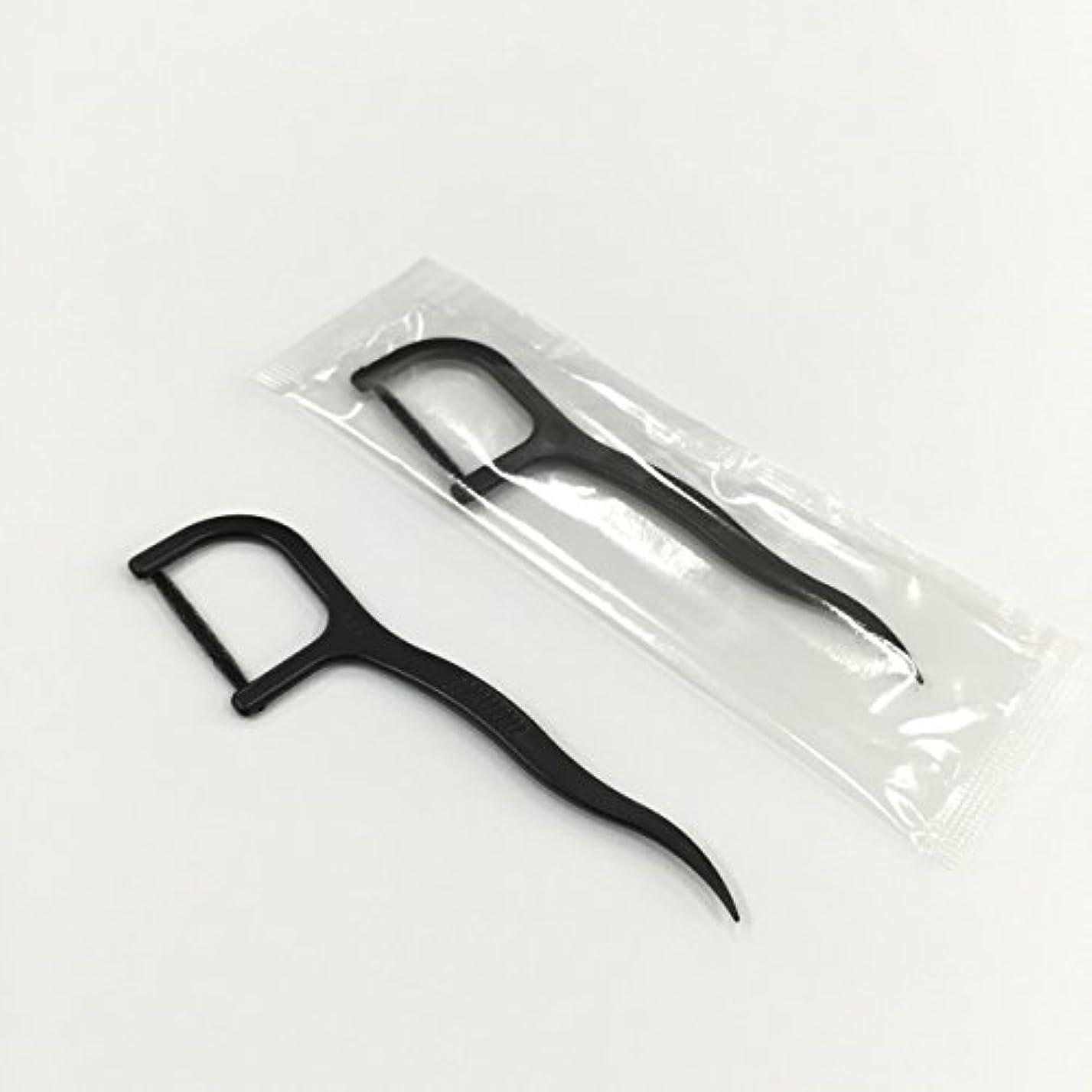 発症ホップ憂慮すべき糸付きようじ 黒  1本包装 100本x3パック