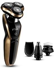 iFTiME 4D充電式100%防水電気シェーバー、ウェット&ドライトリプルロータリーカミソリ洗える鼻毛トリマーサイドバーズカミソリお父さん、ボーイフレンドのための最高のギフト