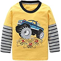 Yoille Boys Monster Truck Shirt Long Sleeve Cotton T Shirts Graphic Crew Neck Tees