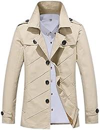 Fly Year-JP トレンチコートの男性の綿の軽量シングルブレストのノッチラペルジャケット